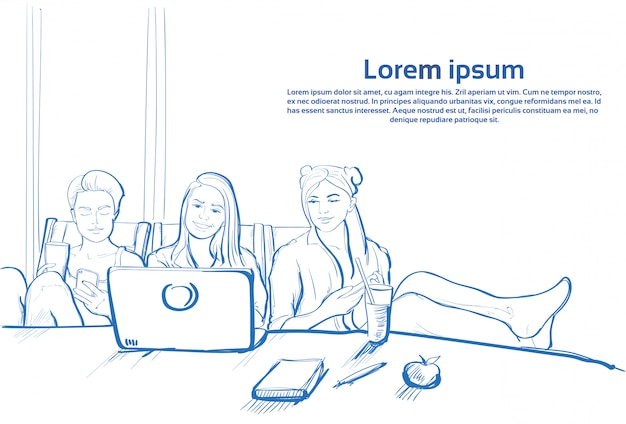 Three sketch girl sitting together using laptop computer chatting on cell smart phones Premium Vector
