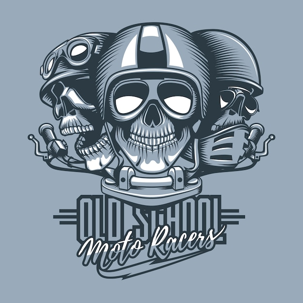 Three skulls riders in helmets and text Premium Vector