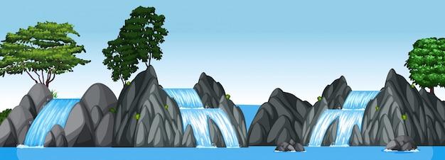 Three small waterfalls and big lake