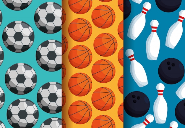 Three sports patterns Free Vector