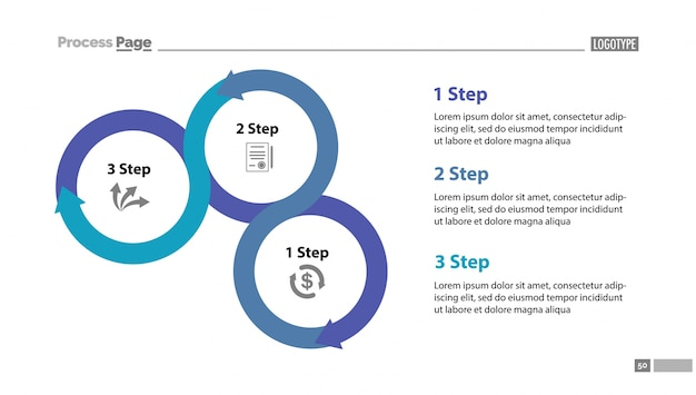 Three Step Process Chart Slide Template Vector