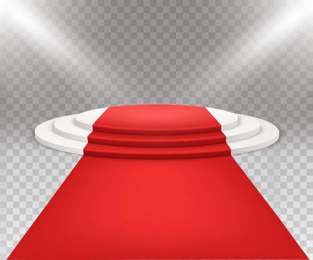 Three stepped round white podium Premium Vector