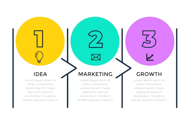 Three steps business infograph in line style Free Vector