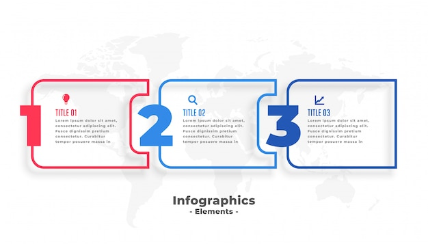 Three steps business infographics presentation template Free Vector