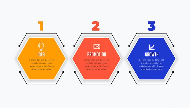 Three steps infographic in hexagonal shape Free Vector