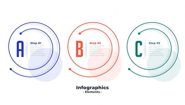 スパイラルライン形状設計の3つのステップのインフォグラフィックテンプレート 無料ベクター