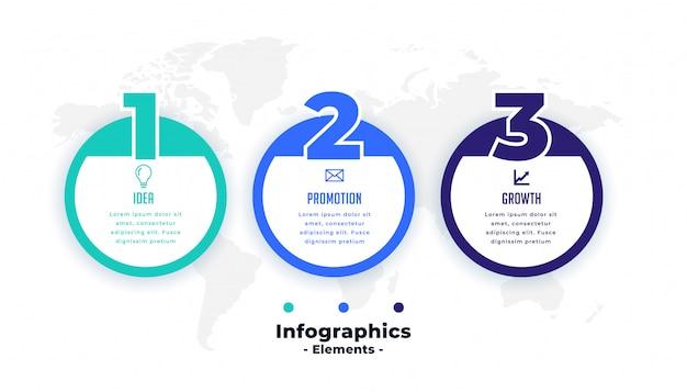 Три шага профессиональный круговой инфографики шаблон Бесплатные векторы