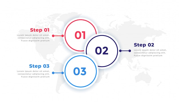 Three steps timeline business infographic elements Free Vector