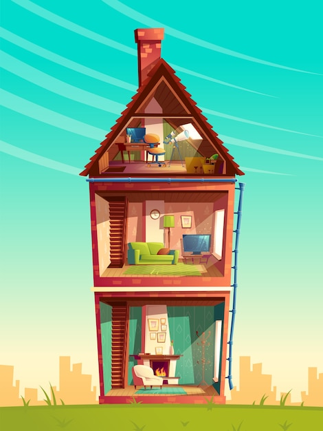 Three-story house interior cross section, cartoon multistorey private building with telescope Free Vector