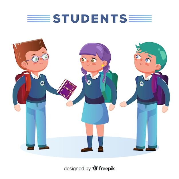 Three students Free Vector