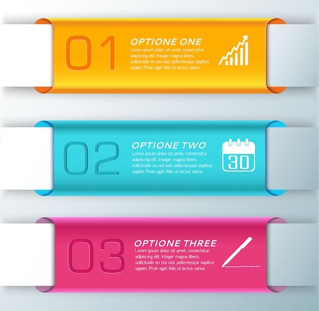 프리젠 테이션 그림에 대한 세 가지 세련된 수평 오렌지 하늘색과 오렌지색 배너 세트 무료 벡터