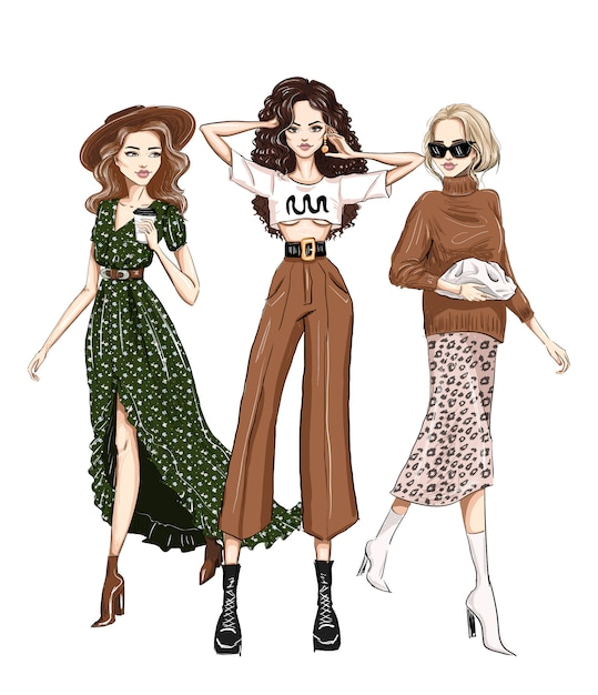Three stylish women in trendy outfits fashion Premium Vector