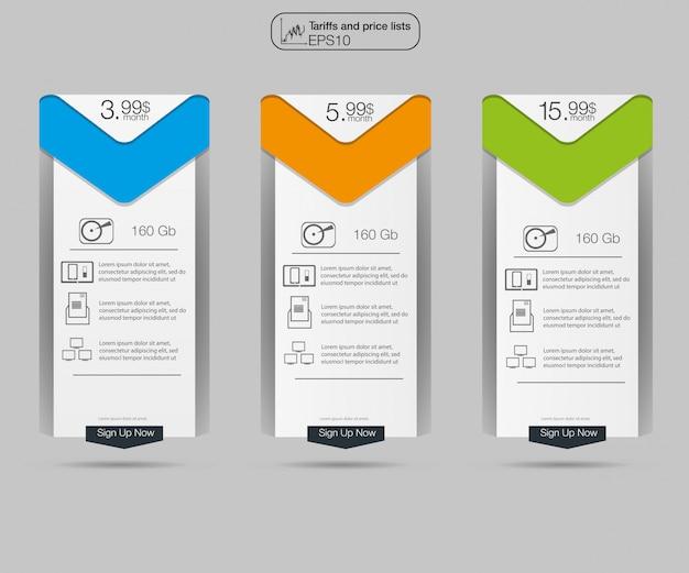 Three tariffs banners. Premium Vector