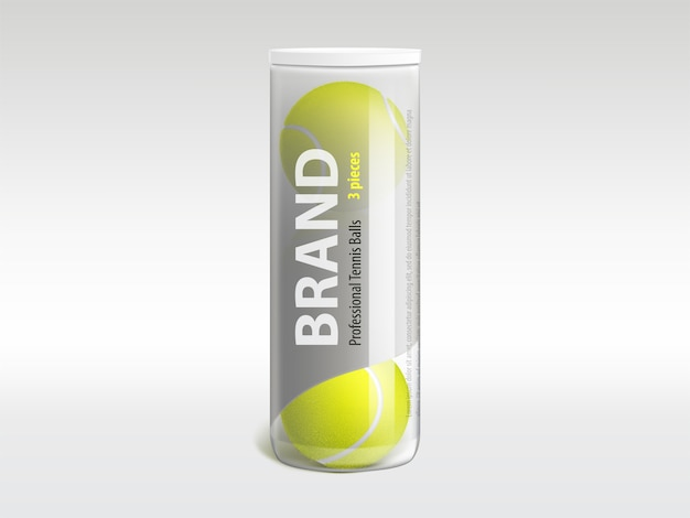 Three tennis balls in branded glossy transparent plastic tube Free Vector