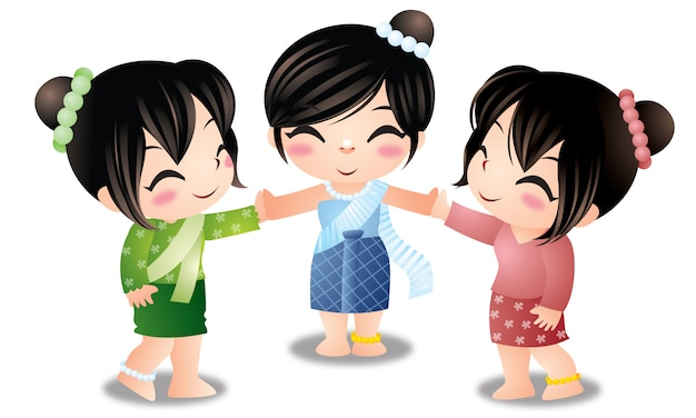 Three thai cute women isolated Premium Vector