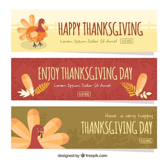 Three thanksgiving banners
