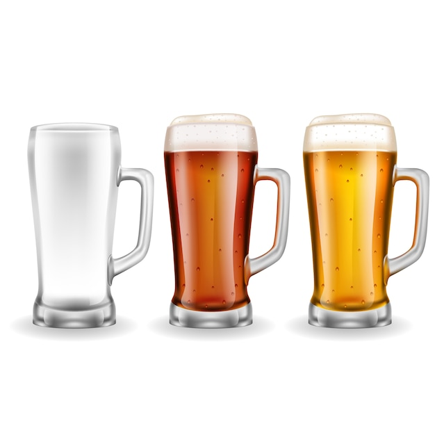 Three transparent glass beer mugs Free Vector