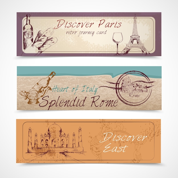 Three travel banners