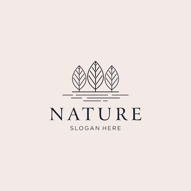 Three trees nature logo Premium Vector