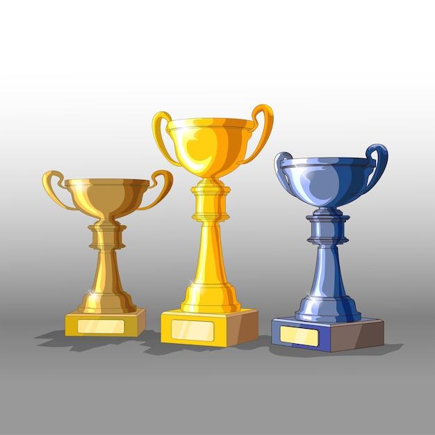세 가지 트로피-금,은 및 청동 재료. 다른 재료의 컵과 함께 3d. 외딴. 프리미엄 벡터