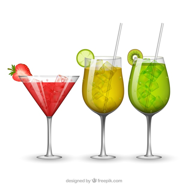 Three tropical drinks in realistic style
