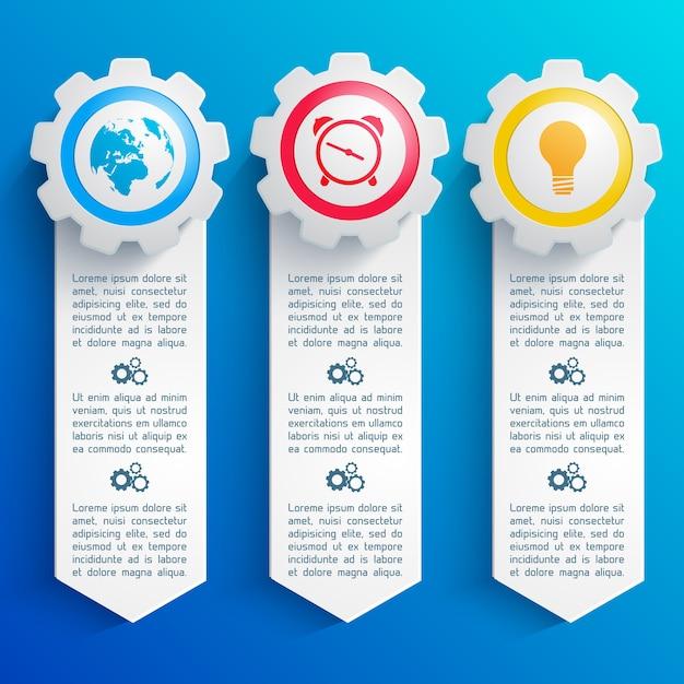 3 개의 수직 추상 infographic 라운드 다채로운 비즈니스 아이콘 플랫 격리 설정 무료 벡터