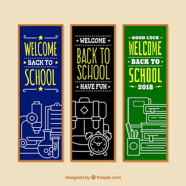 Three vertical back to school banners Free Vector