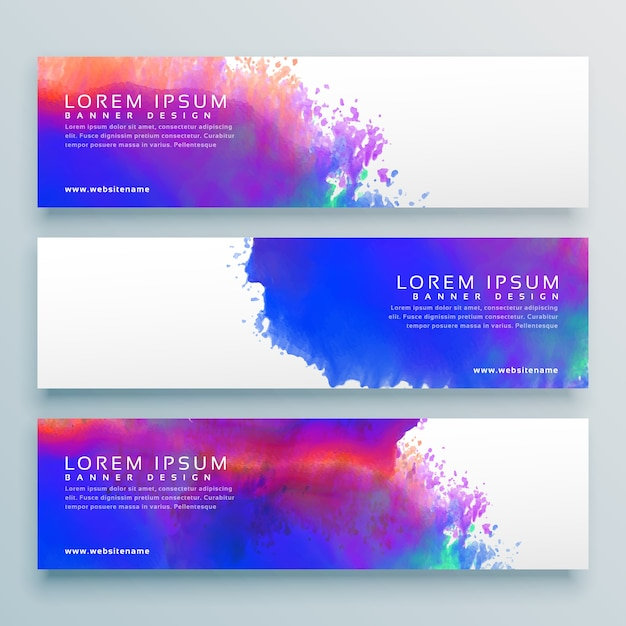 three watercolor background header banner design Free Vector