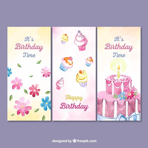 Three watercolour birthday cards Free Vector