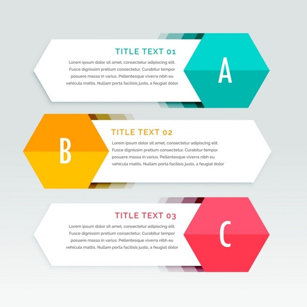 Three white geometric banners for infographics Free Vector