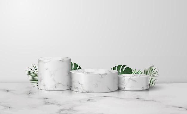 세 개의 흰색 대리석 실린더 연단 프리미엄 벡터