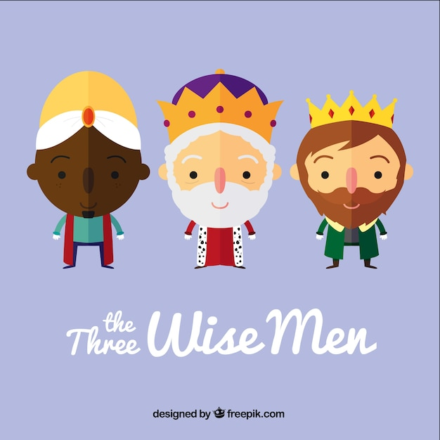 The three wise men in cartoon style Free Vector