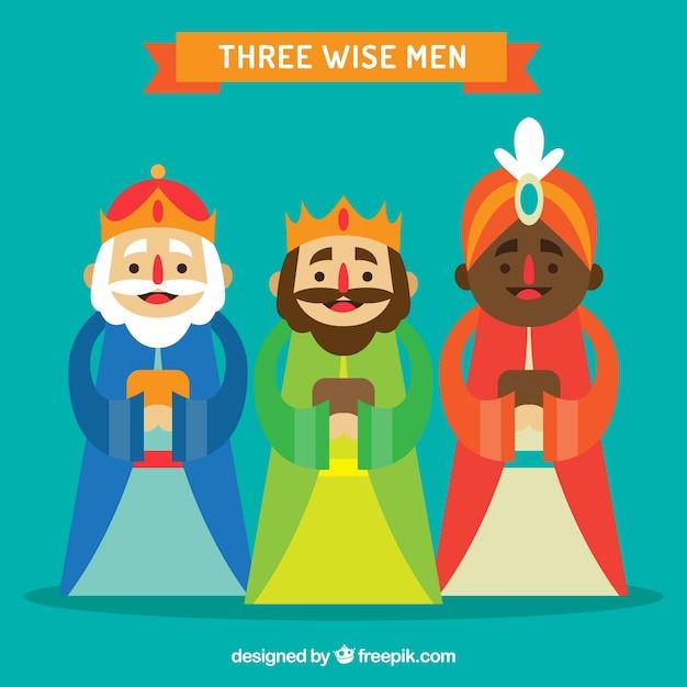 The three wise men in flat design Premium Vector