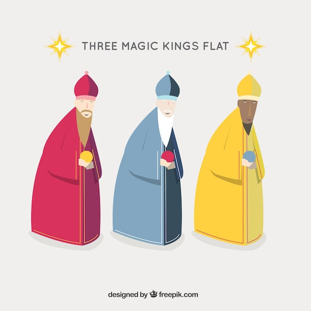 Three wise men icons Free Vector