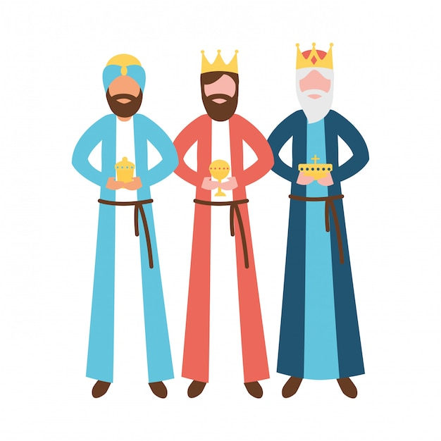 Three wise men king with gift epiphany Premium Vector