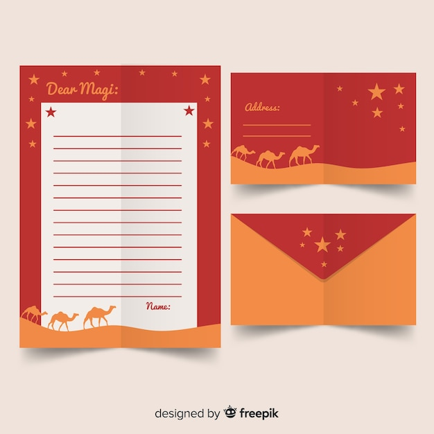 Three wise men letter template Free Vector