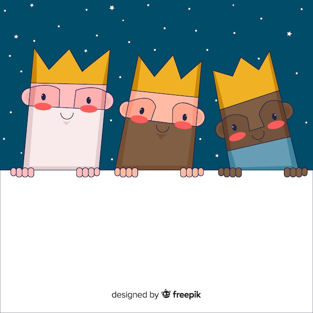 Three wise men with board Free Vector