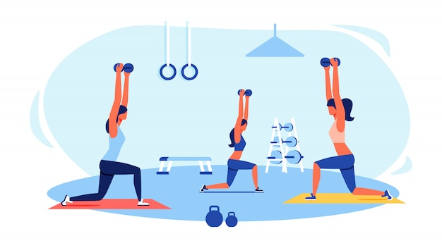 Three women in tracksuits doing exercises in gym Premium Vector