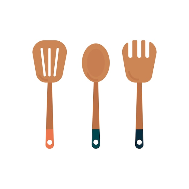 Three wooden cooking utensils graphic Free Vector