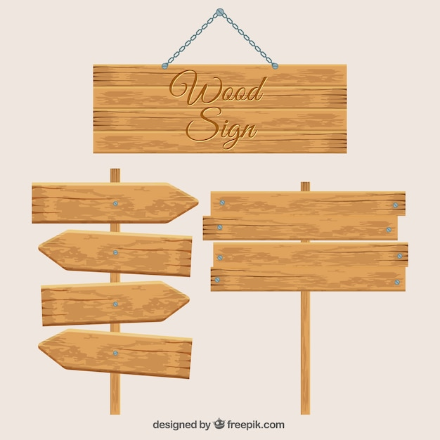 Three wooden signs Free Vector