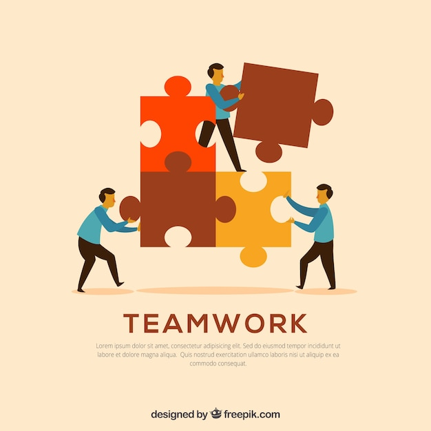 Three workers with puzzle pieces Free Vector