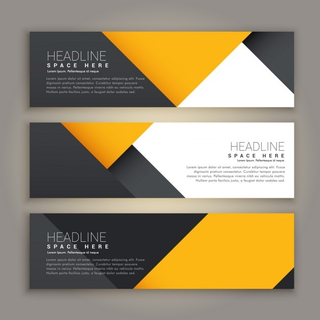 Three yellow and black geometric banners Free Vector