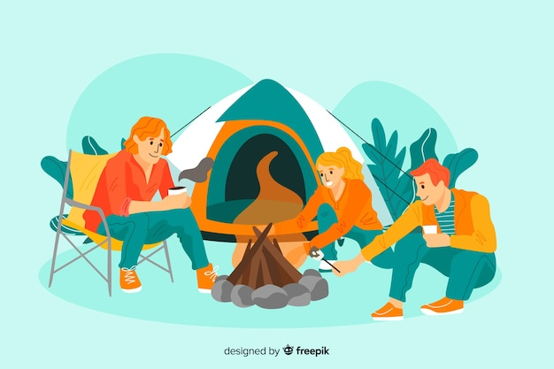 Three young people camping together Free Vector