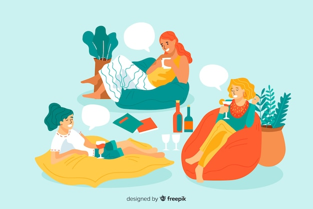 Three young women spending time together Free Vector