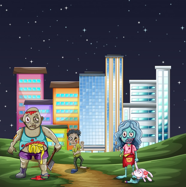 Three zombies walking in the park at night Free Vector