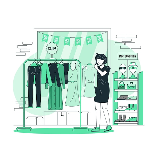 Thrift shop conceptillustration Free Vector