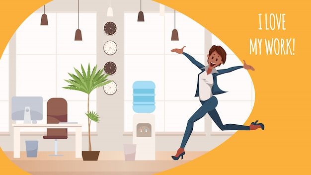 Thrilled office woman jumping in coworking space Premium Vector