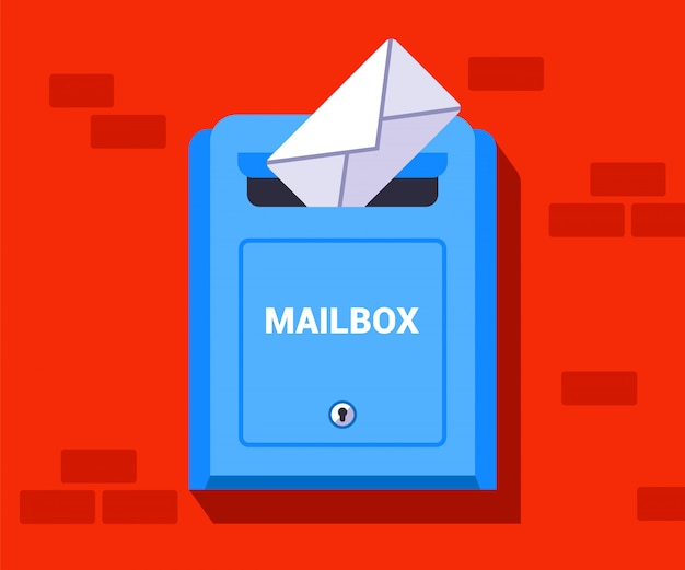 To throw a handwritten letter into a box. sending an envelope to another city.   illustration. Premium Vector