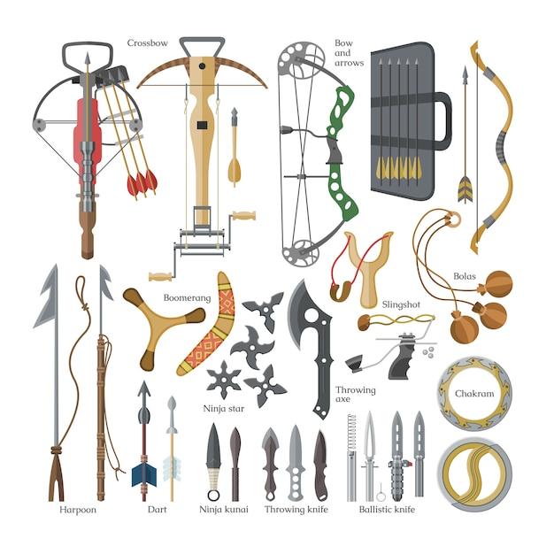 Метательное оружие острыми стрелами из арбалета и ножа или топора иллюстрация набор оружия ниндзя-кунай или сюрикен и гарпун ручного доспеха на белом фоне Premium векторы