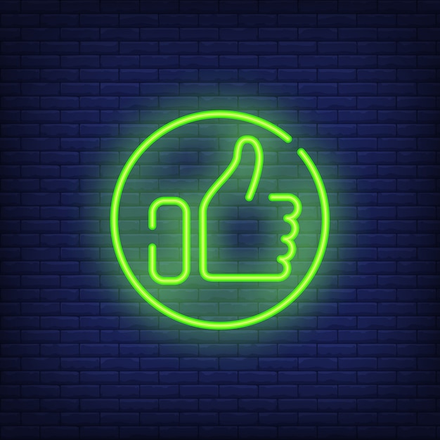 Thumb up neon sign. bright hand showing thumb-up in round. Free Vector